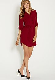 shirtdress in textured fabric with pockets - #maurices