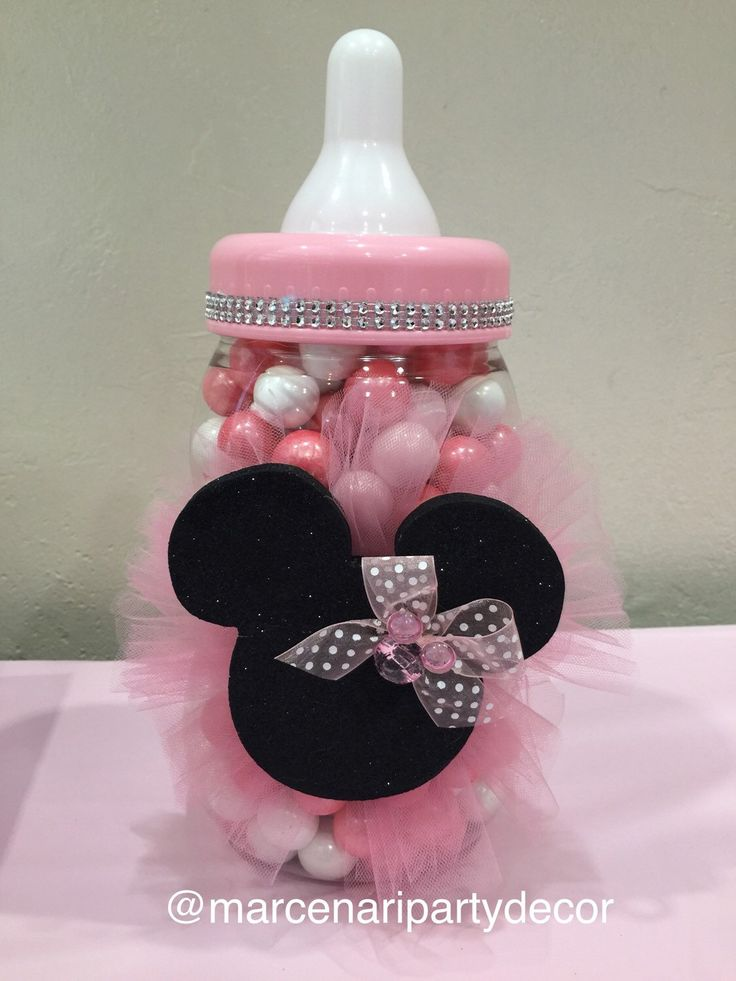 Large Baby Bottle Minnie Theme. Minnie Baby Shower. Count The Gum Balls  Game.