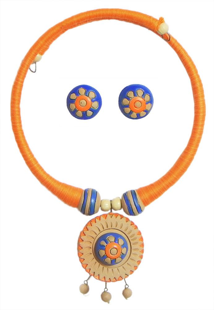 Saffron Threaded Spring Necklace with Hand Painted Terracotta Pendant and Earrings (Terracotta)