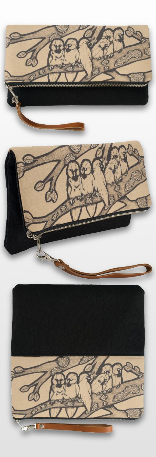 """""""Sparrows"""" Black and White Illustrated Clutch Bag #bird #birds #cute #sepia #art #illustration #products"""