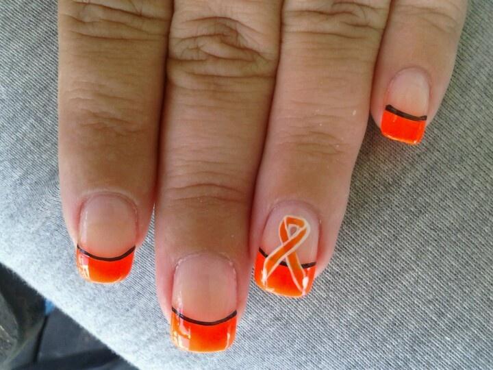 Halloween nails w/ orange cancer ribbon