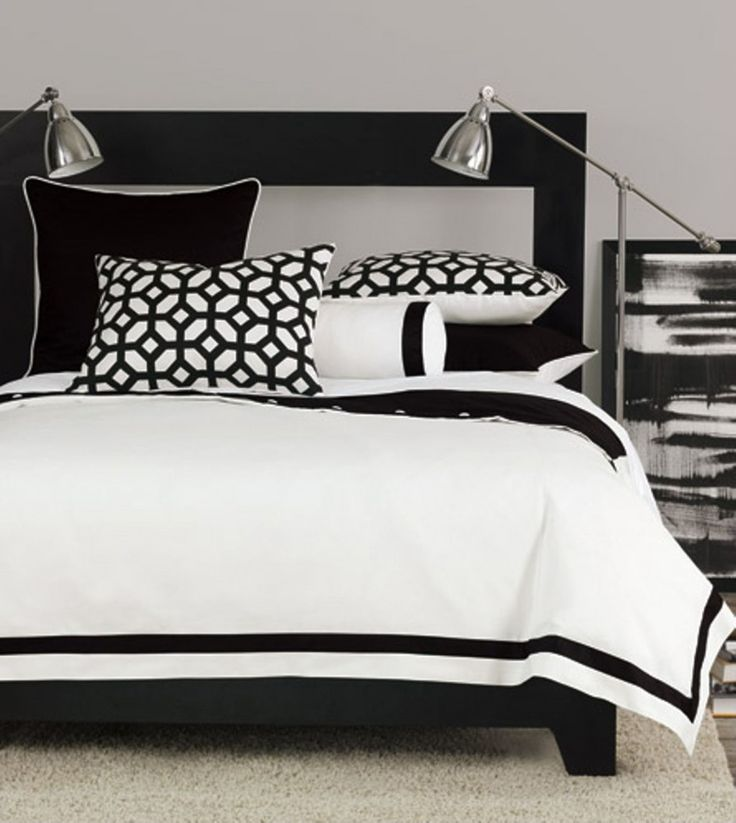 Bedroom, Cool Black Pine Wood Bedford Master Bed With Smart White Cover Bedding Also Great Double Chrome Reading Lamps And Target Book Shelves As Well As White Bedroom Rugs In Modern Black And White Bedroom Design: 27 Black And White Bedroom Contemporary Theme Decoration Pictures