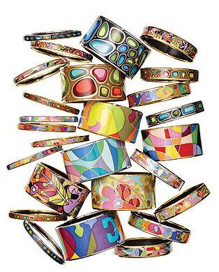 Frey Wille enamel bracelets.