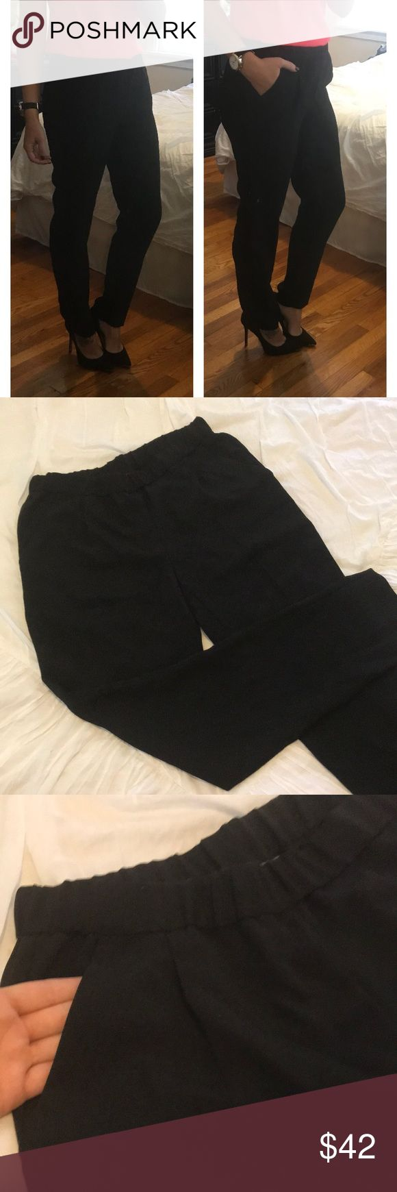 Vince Camuto Trouser Pants! NWOT! Stretch Waist with POCKETS ladies 😍 Stay fashionable and comfortable at the same time with these black Vince Camuto tapered trousers!   Runs big for comfort..Can fit up to size 4/6. Waist band is 14 inches laying flat (super stretchy). 10 inch rise. 29 inch inseam. Vince Camuto Pants Trousers
