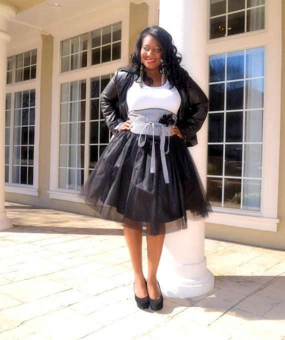 Black Tulle Tutu Skirt  Plus Size by SpoiledDiva on Etsy, $76.00. I would love to have this skirt and belt. So nice!