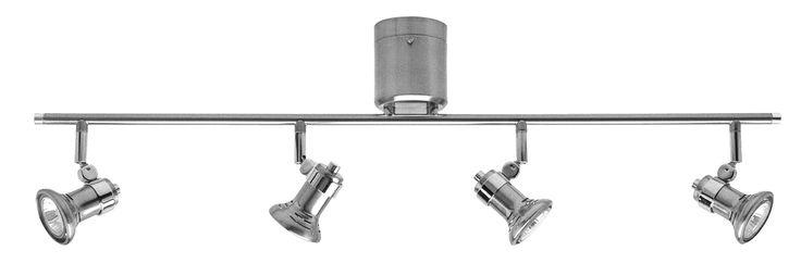 Vogue DIY 4 Light Bar GU10 Including Globes in Brushed Steel