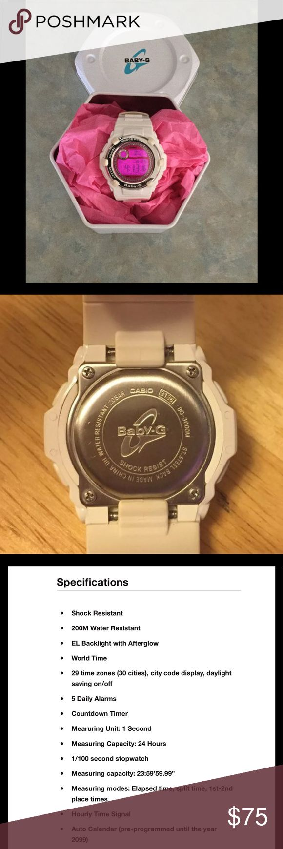 """Ladies Casio Baby """"G"""" Shock Watch (BG3000M7) Great smaller """"Gemma"""" G-Shock watch. White silicon band with pink face and pink backlight. Rhinestones around dial and comes with box. Casio Accessories Watches"""