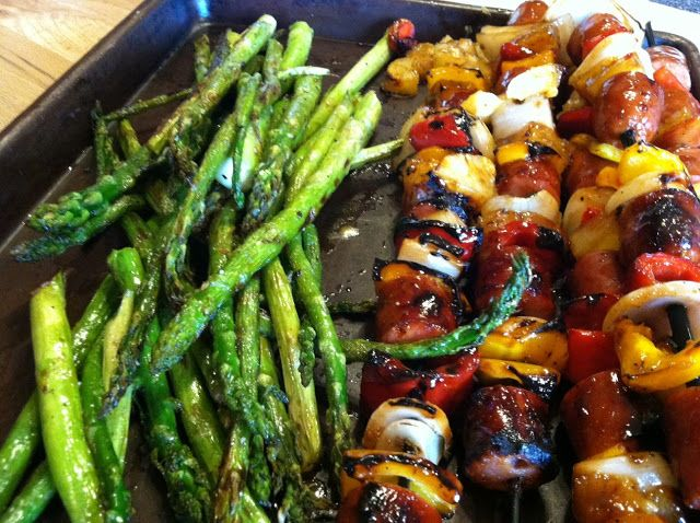Sweet 'n Sour Chicken Sausage Kabobs | Food on a Stick | Pinterest