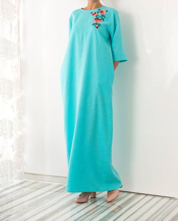 NEW SS16 Model Handmade embroidered turquoise linen Maxi dress, Maxi dress, Caftan, Abaya, Plus size dress, Plus size clothing, Summer Dress