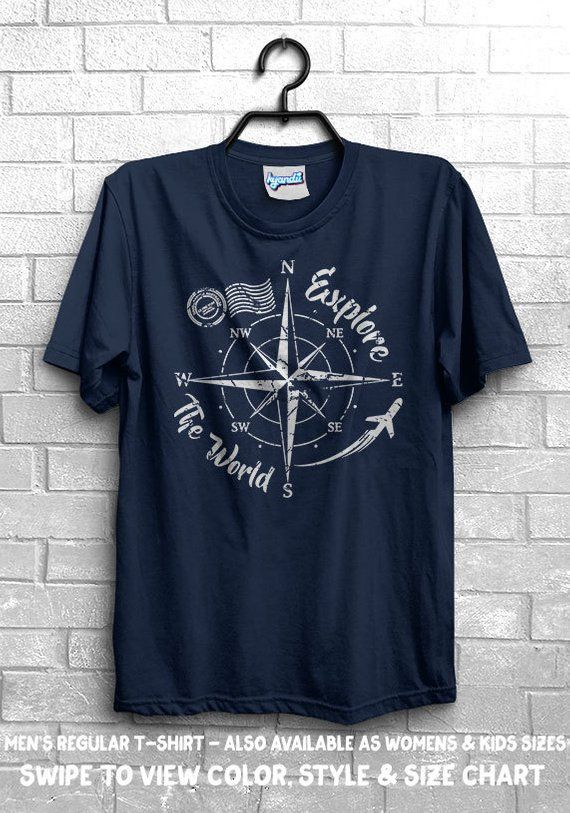 a8aa7441e90914 Explore The World Compass T-Shirt - Travel Adventure Camping Plane Journey  Nature Outdoors Live Life