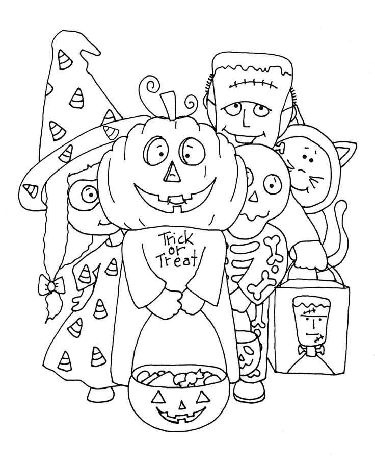 halloween trick or treaters coloring pages