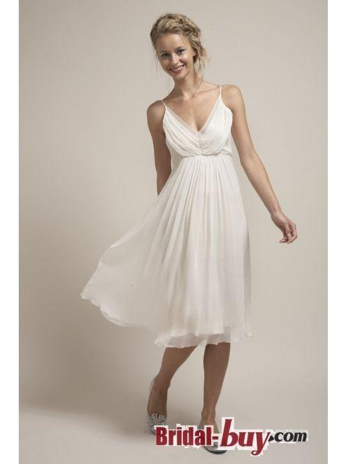 2013 Simple Casual V-neck Ruched Short Summer Chiffon Wedding Dress Under 200 WD-9026 - $119.99