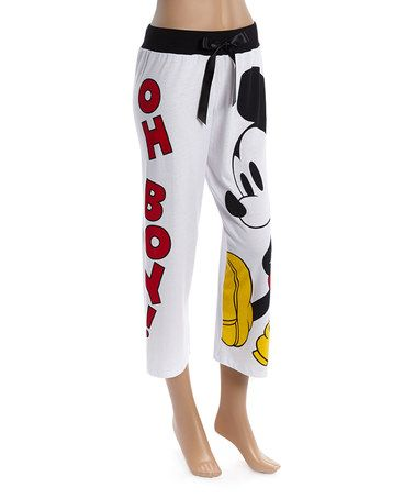 Another great find on #zulily! White Mickey Mouse 'Oh Boy!' Pajama Pants - Juniors #zulilyfinds