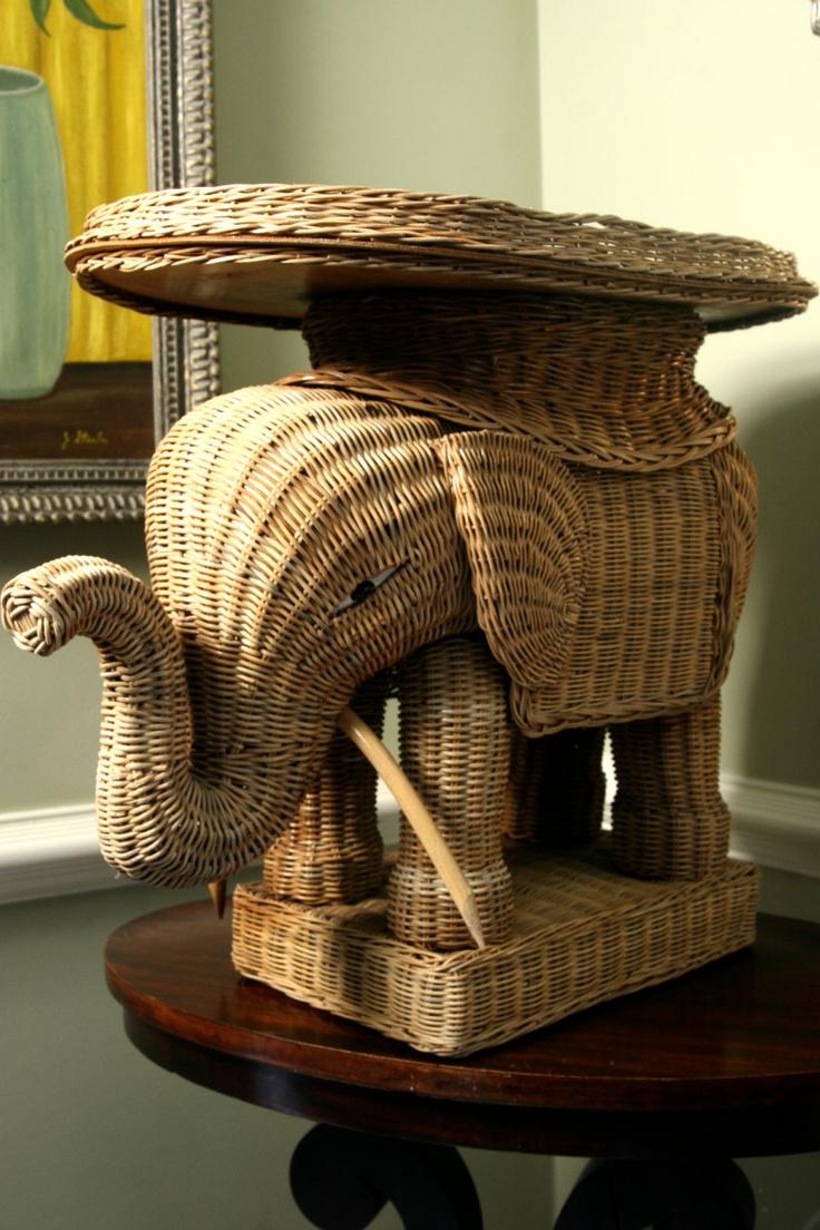 vintage wicker rattan elephant side cocktail table. $125.00, via Etsy.
