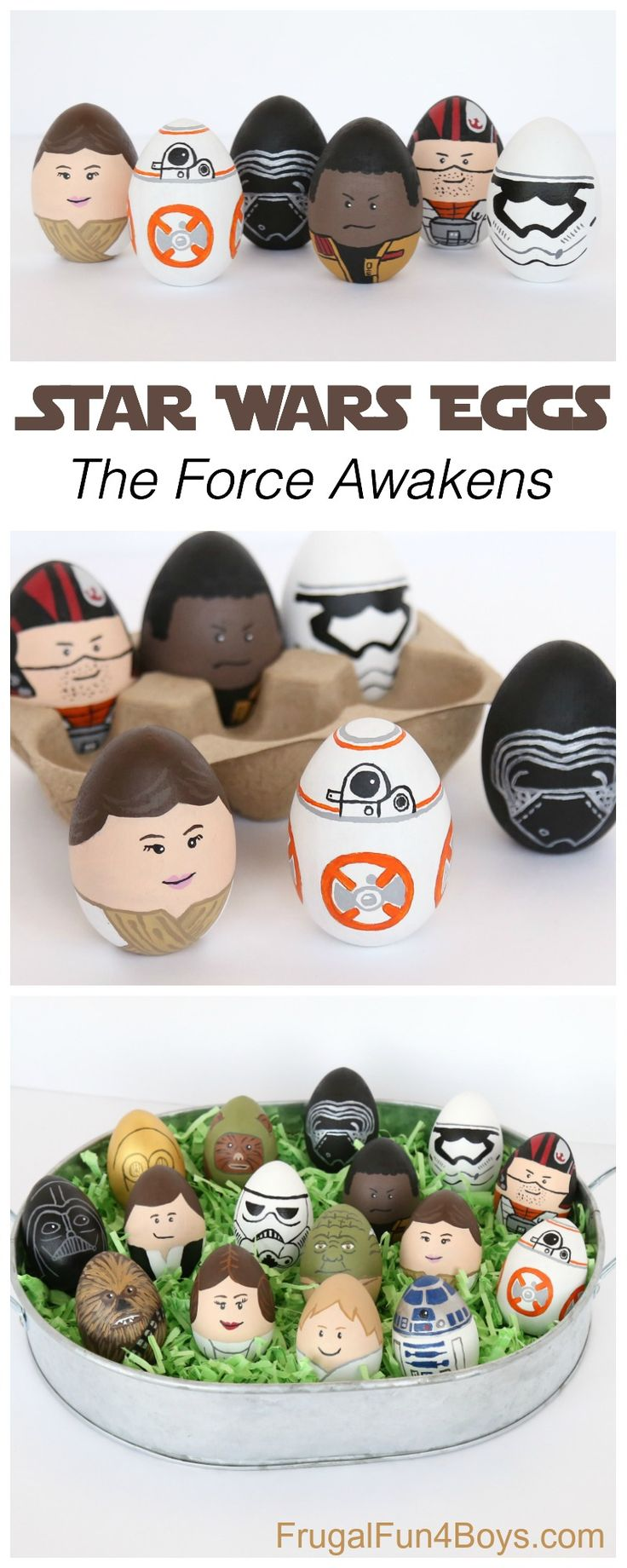 Last year, I painted wooden eggs with Star Wars characters, and the boys loved them! In fact, I'm pretty sure we left them out on the dining table until May or June. This year, they talked me into adding characters from The Force Awakens, and I'm glad they did because they were so fun to …