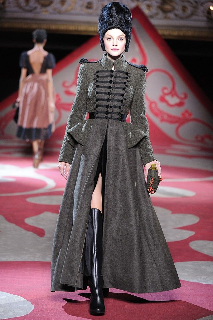 Ulyana Sergeenko Fall Couture 2012. Russian Influence. Russian style in fashion. Military style coat.