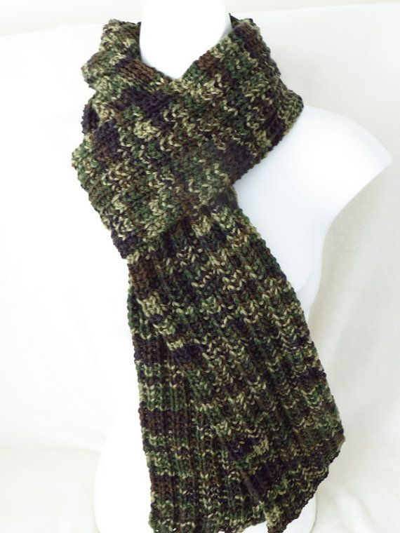 Green Camo Scarf Military Scarf Hand Knitted Hunting