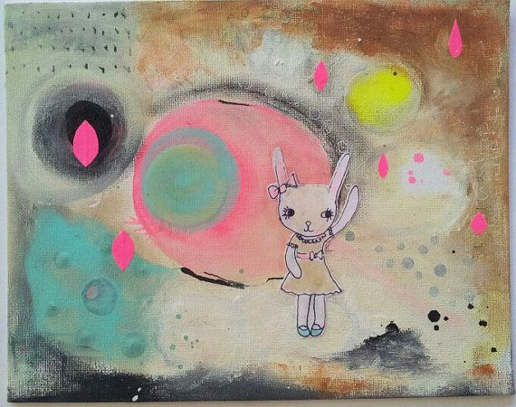 Abstract Bunny Landscape Painting Mixed Media by blossomnbird