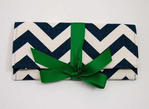 Shoply.com -Teal Chevron Stripe with Emerald ALEXIS Clutch. Only $45.00