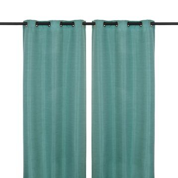 Product Details Teal Silk Curtain Panel Set, 108 in