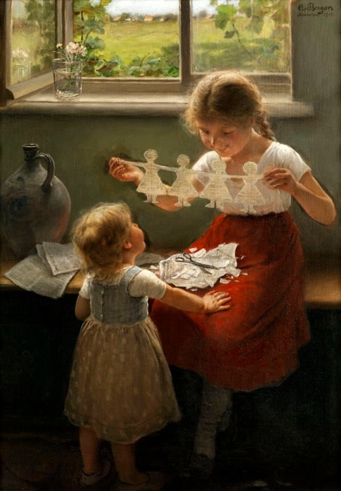 "Carl Von Bergen - 1853/1933 - German - ""Two Girls Playing With A Paper Garland""."