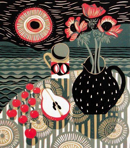 Reduction linocut by Jane Walker