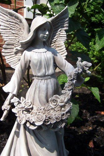 """Outdoor 18"""" Stone Craft Saint Angel Cherub Garden Figurine Statue W Bed of Roses . $49.95. 18"""" Angel Garden Statue. Stone Finish. Made for Outdoors. This angel garden statue brings a sense of elegance to your yard. The sculpted angel wears a dress painted to reflect the tranquility and beauty. Save 38%!"""