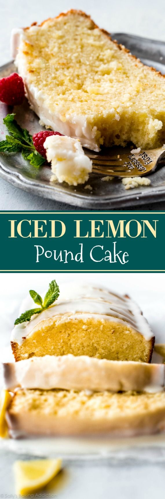 Luscious and moist lemon pound cake with sweet lemon icing. Simple and satisfying, this tastes incredible with fresh berries! Recipe on sallysbakingaddiction.com