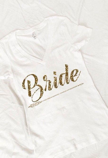 Bride Arrow GOLD GLITTER tshirt Wedding Bride To Be Shirt