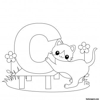 Printable Animal Alphabet worksheets Letter C for Cat - Printable Coloring Pages For Kids