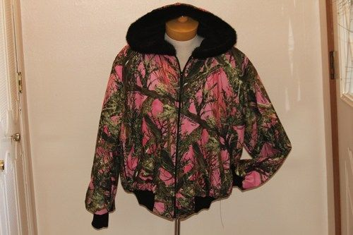 large USA made womens pink camo jacket by lundeen   jobeesrusticdecor - Clothing on ArtFire