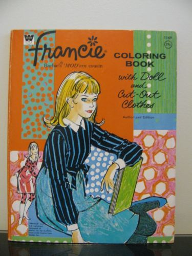 Vintage Francie Coloring Book Barbies ModErn Cousin W Paper Doll Cut Outs