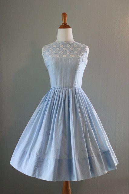 Vintage 50s Dress / 1950s Sundress / 50s Blue Organdy Dress