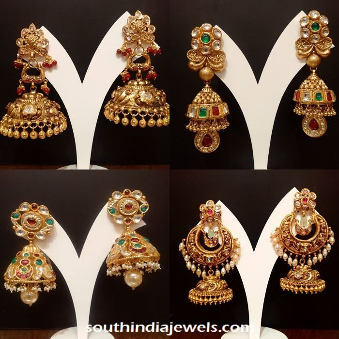 Gold Jhumka Collections, Antique Gold Jhumka Collections, Latest model Stone Jhumka collections