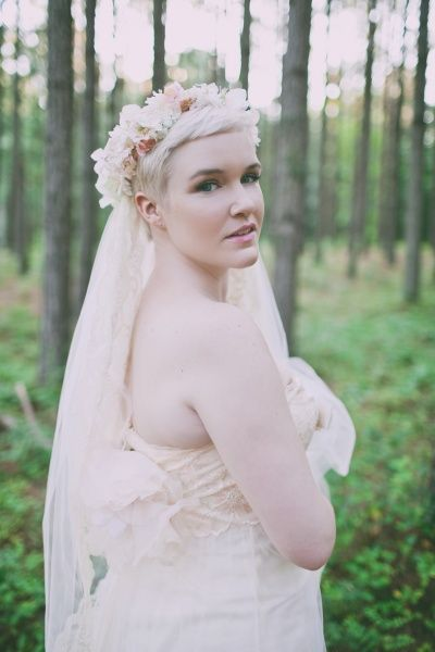 Pixie cut with flower crown