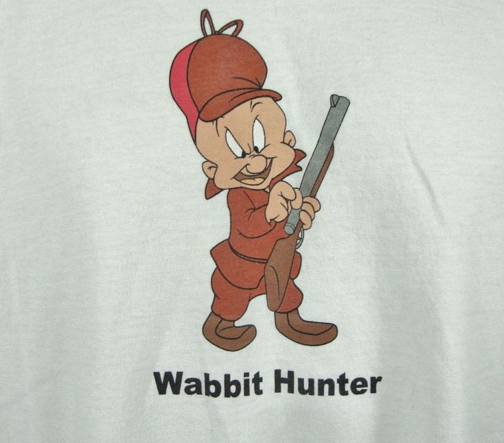 Looney Tunes Wabbit Hunter Elmer Fudd Graphic T-shirt XL White 100% Cotton…