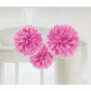 A18055/103 - Fluffy Hanging Decorations, Pink Fluffy Hanging Decoration Pink. Some assembly is required to fluff up the decorations. Measures 40cm in (40cm) Pom Pom - Pack of 3. Please note: approx. 14 day delivery time.