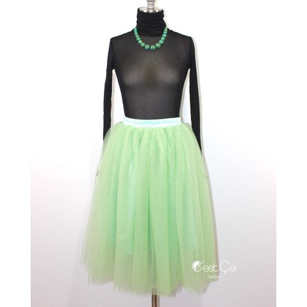 Colette Avocado Green Tulle Skirt Layered Semi-Puffy Tutu Adult Tulle... ($79) ❤ liked on Polyvore featuring skirts, silver, women's clothing, white knee length skirt, tulle skirt, white tutu skirt, tea length tulle skirt and puffy tulle skirt