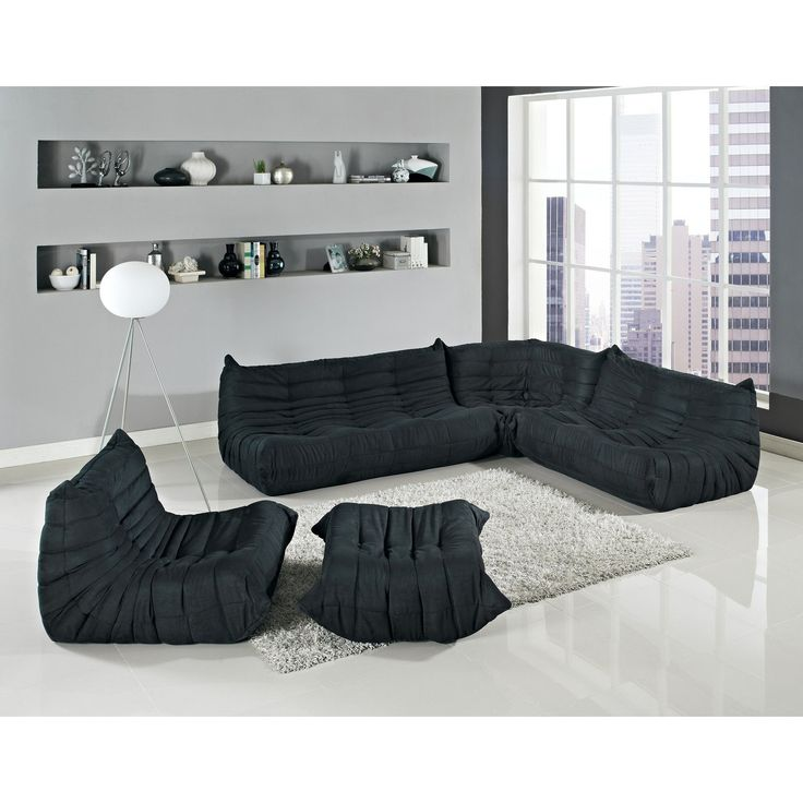 togo style modular sectional five piece sofa set in black black sofa set office