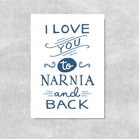 Narnia Print Love Quote Husband Gift Wife Gift by violetandalfie
