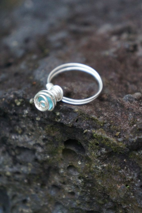 Hawaii Light Blue Sea Glass Wire Wrapped Ring by AquaWai on Etsy
