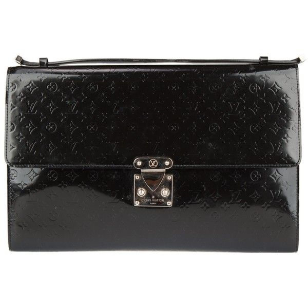 Pre-Owned Louis Vuitton Large Black Mini Monogram Clutch ($500) ❤ liked on Polyvore