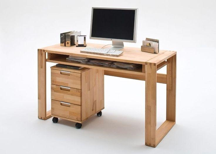 Schreibtisch + Rollcontainer Kernbuche Massiv 7420. Buy now at https://www.moebel-wohnbar.de/schreibtisch-lara-mit-rollcontainer-benno-kernbuche-massiv-geoelt-7420