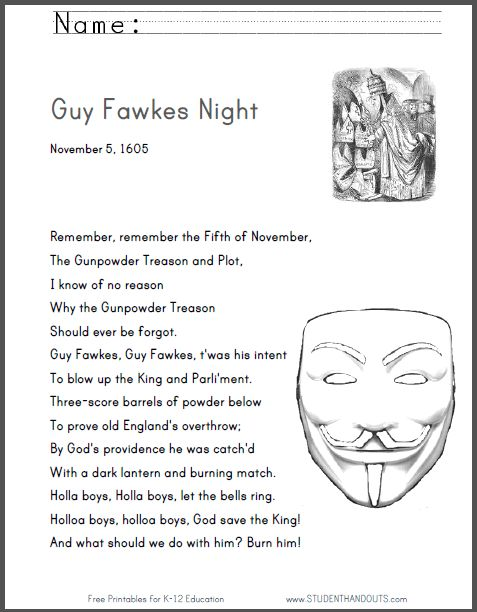 Remember, remember the Fifth of November! | Guy Fawkes Night printable poem.
