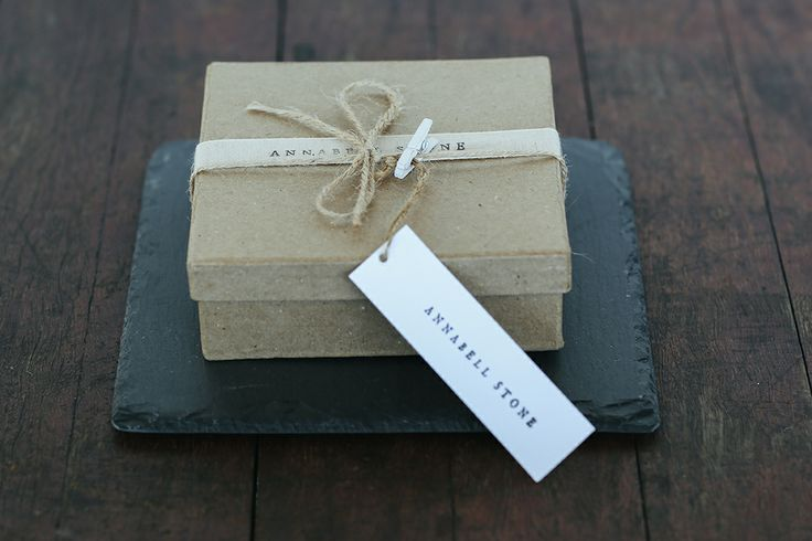 Handcrafted Slate Coasters by Annabell Stone www.annabellstone.com.au $19.95/set of 4. Packaged in kraft boxes with linen & jute. Photography by Elise Hassey