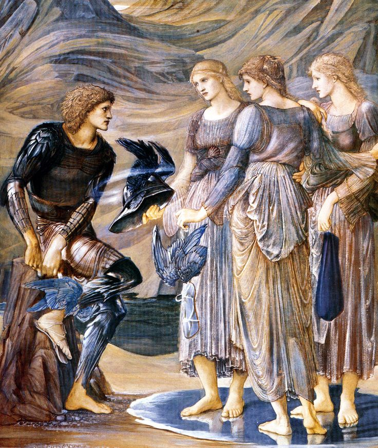 Edward Burne-Jones, The Perseus Series: Perseus and the Sea Nymphs (The Armament of Perseus), 1877. Gouache on paper, 152.8 x 126.4 cm. Southampton City Art Gallery, Southampton.