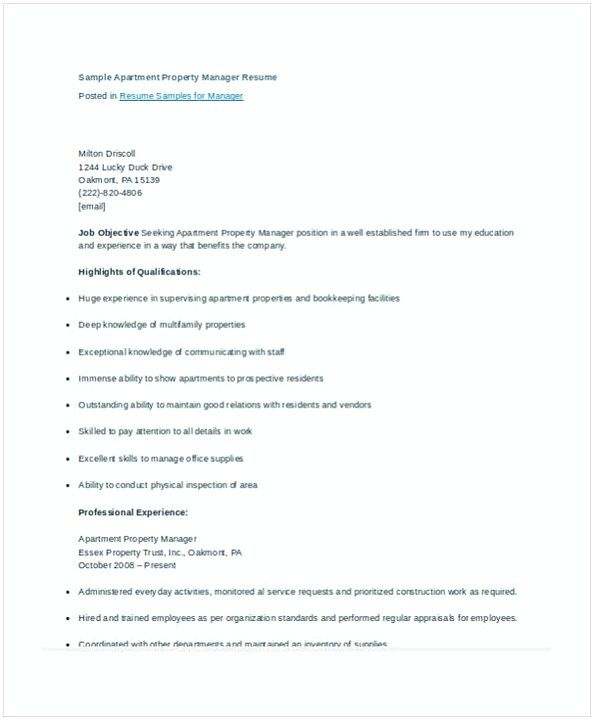 Assistant Property Manager Resume Template Apartment Property Manager Resume  Assistant Property Manager