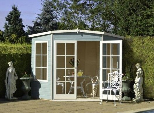 very quaint and attractive the hampton wooden summer house will fit nicely into the corner outdoor garden shedsgarden