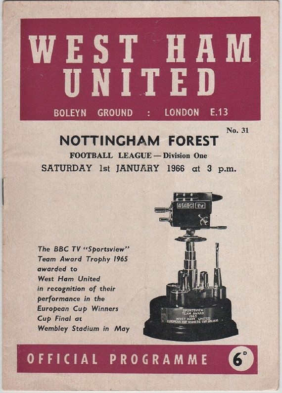 Vintage Football (soccer) Programme - West Ham United v Nottingham Forest, 1965/66 season.