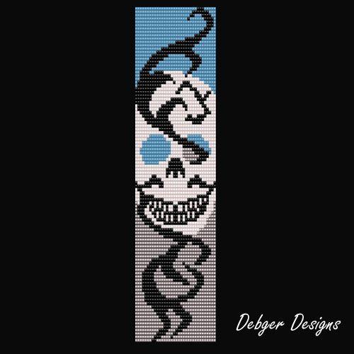 Small Bead Loom Pattern Bracelet   Lightening Skull - Loom Bracelet Cuff Pattern   DebgerDesigns ...
